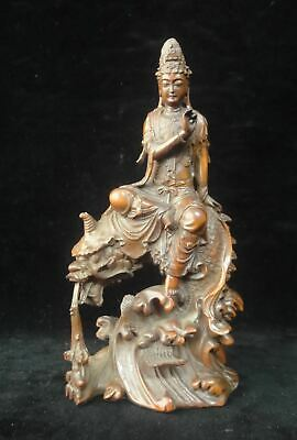 "Excellent Old Chinese Hand Carving ""GuanYin"" Buddha Boxwood Statue Sculpture"