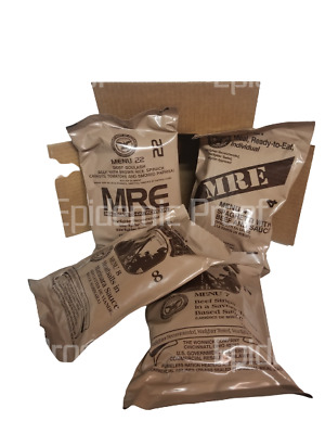 4 *BEEF MENU* MRE Sampler Box [2022 Inspection Date] AUTHENTIC MEAL READY TO EAT