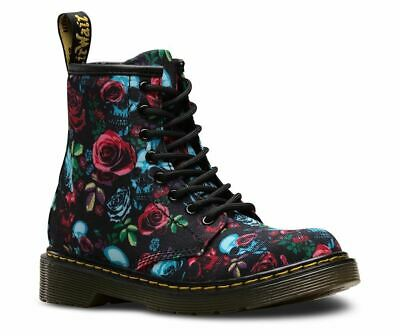 Dr Martens 1460Y ROSE FANTASY CANVAS Skulls and Flower with Laces /& Zip UK4 EU37