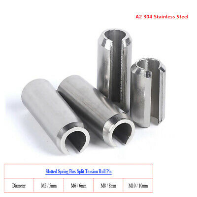 M5 M6 M8 M10 Slotted Spring Pins Split Tension Roll Pin, A2 304 Stainless Steel