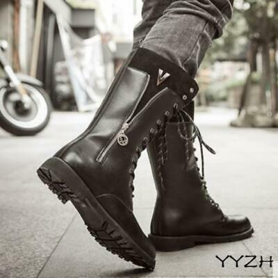 Ride Horse Mens Knee High  Boots PU Leather Army Back Zip Military Boots Shoes