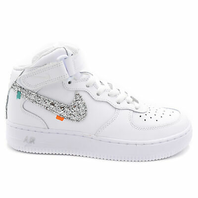 NIKE SNEAKERS DONNA AIR FORCE 1 MID GLITTER ARGENTO GLITTER ...