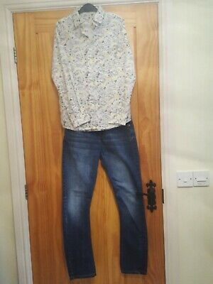 Boys Age 10-11 Outfit River Island Blue Jeans. M&S long sleeve 'graffiti' shirt.