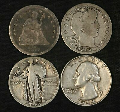 1877,1905,1926 & 1964 Silver Quarter Type Lot - (4 Coins) - Free Shipping USA