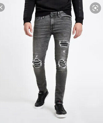 River Island Mens Boys Black Skinny Sid Tear/Ripped Jeans Size 26/29 RRP £50 NEW