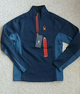 L M Details about  /NWT Columbia Mens Spyder Lake Half Zip Fleece Brown and Blue Sz