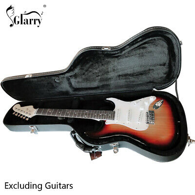 Glarry ST Electric Guitar Hard Shell Case Microgroove Flat Straight Flange Black