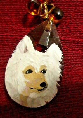 Chinese Crested hand-painted on faceted, teardrop glass pendant/bead/necklace