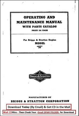 Briggs & Stratton 5S Engine Operator Maintenance with Parts Manual