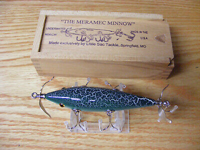 Details about  /Little Sac Bait Co Niangua Minnow Glasseye Lure n Green Crackle Color Wooden Box