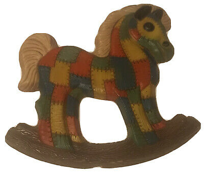 Vintage Quilted Look Wooden Rocking Horse Wall Decor Childs Room Colors Unisex
