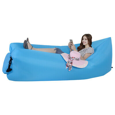 Portable Lazy Inflatable Sleeping Bed Lightweight Outdoor Camping Travel Blue
