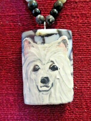 Chinese Crested, powderpuff, hand-painted on rectangular pendant/bead/necklace