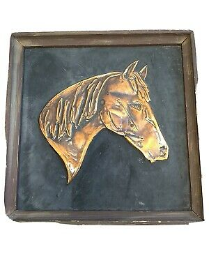 Mid Century Copper Repousse Embossed HORSE Equestrian On Wood Art Vintage