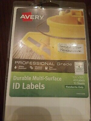 "Avery Duable Multi-Surface ID Labels 1 1/4"" X 3 1/2"