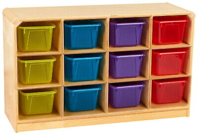 47-3//4 x 14-1//4 x 30 Inches Childcraft Korners For Kids Mobile 3-Compartment Storage Cabinet Birch