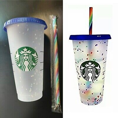 2020 Starbucks Rainbow Cup Girly Cute With Straw Water Cup Tumbler 4Color