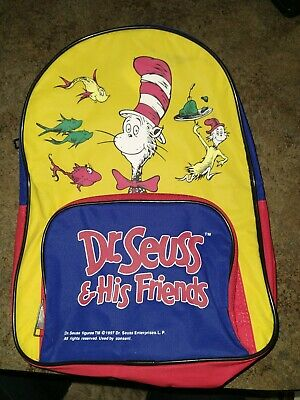 Seuss /& His Friends Child/'s Backpack ~ Featuring The Cat in the Hat and Classic Dr Dr Seuss Characters  ~ 1997 ~ New in Bag