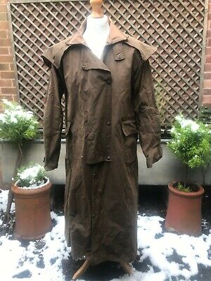 Vintage Driza-bone waxed cotton duster riding coat green size M drover