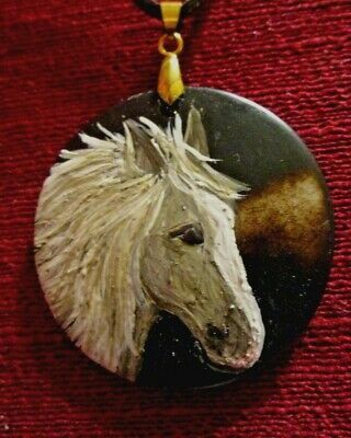 Horse, grey, hand-painted on round pendant/necklace