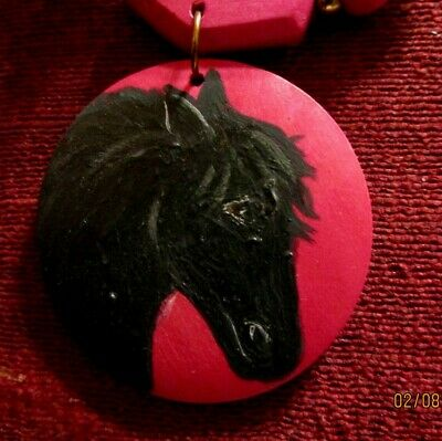 Horse, black, hand-painted on round, red wood pendant/necklace