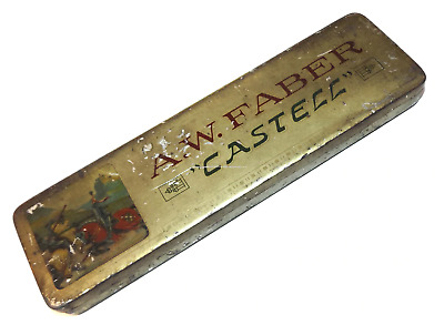 Vintage AW Faber Castell Finest Quality Lumber Crayons Box 12 Yellow Germany NOS