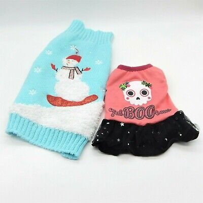 Cat Small Dog Outfit - Pink Skull Halloween & Blue Snowman Christmas