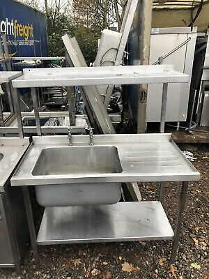 1.2M Long Stainless Steel Single Bowl Sink Unit With Taps & Over shelf.
