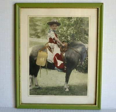 Vintage PHOTO - BOY on CAMERA-SHY PONY HORSE Chaps, Longhorn Steer Logo Hat