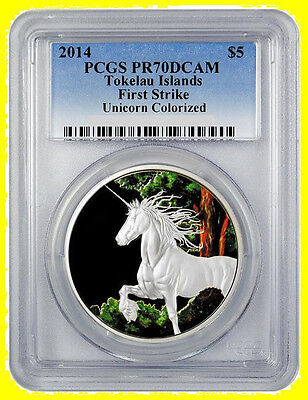 2014 UNICORN 1 oz Silver UNICORN  COLORIZED PCGS   PR 70 DCAM First Strike