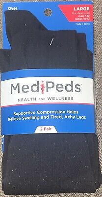 Medi Peds Health And Wellness Over The Calf Compression Socks. 2 Pair Pack. SzLg