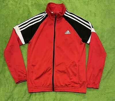 Adidas childrens red black white track top size 13-14 years date 07-2015