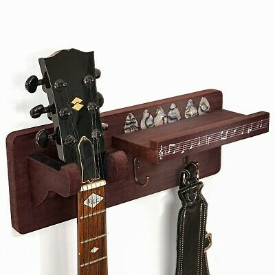 MDtrends Acoustic/Classic Guitar Wall Mount Hanger/Holder wit Accessories Shelf