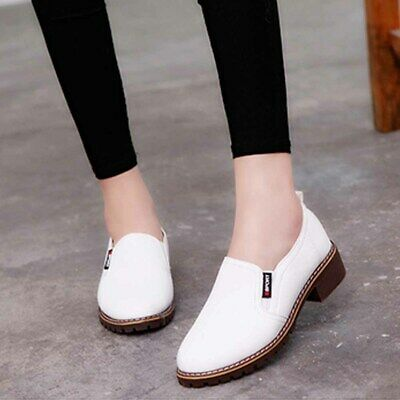WOMENS LADIES FLAT CREEPER SCHOOL WORK LOAFERS FLAT SHOES SIZE 4.5-9