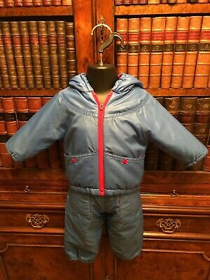 Vintage Blue & Red Two Piece Baby Snowsuit - Age 6-12 Months