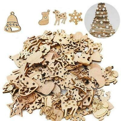 50x Wooden Christmas Tree Hanging Ornament Decor Wood Embellishment Craft Y5O1