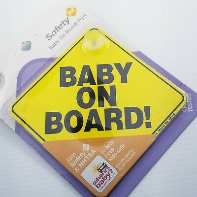 "Baby On Board! Sign Safety 1st Window Sign 5"" Brand New Yellow Suction Car 48918"
