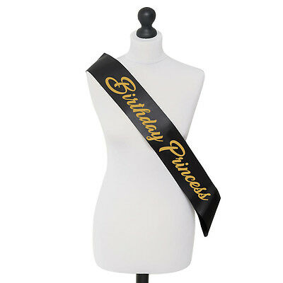 Birthday Princess Party Celebration Accessory Sash 18th 21st 16th Gold and Black