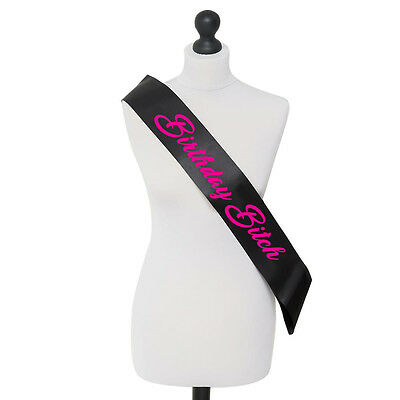 Birthday Bitch Party Celebration Sash 18th 21st Clubbing - Hot Pink and Black
