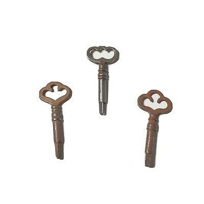 """3 Vtg Antique Sewing Machine Drawer Keys 3-Sided Fits Many Models Approx 2"""" Long"""