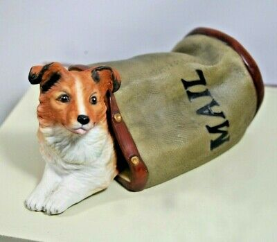 "Princeton Gallery ""Special Delivery"" Collie Dog Figurine, Mail Bag, Playful Pup"