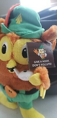 """8""""  Woodsy Owl  W/White Whistle. Soft & Cuddly.""""GIVE A HOOT. DON'T POLLUTE!"""""""