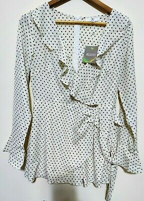 Missguided - White Star Printed Frill Blouse - UK 12 - (12H)