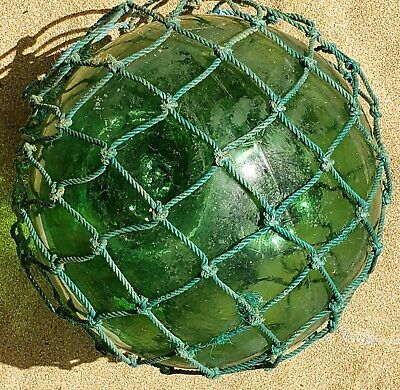 """Antique Japanese Large 12 1/2"""" Glass Fishing Float with Original Net"""