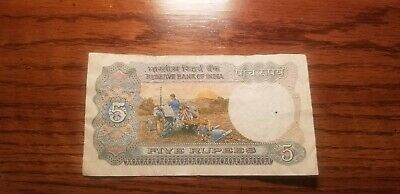 India 5 Rupees P-80 R 1975 Lion Sun Tractor Indian Note
