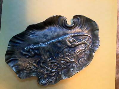Vintage Art Nouveau Bronze Tiger Tray