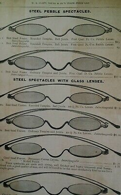 Spectacles Glasses Antique Steel 1881 Catalog Page Clapp Chicago Rare VHTF 86