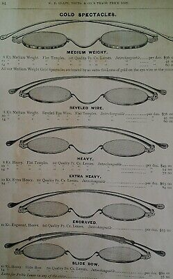 Spectacles Glasses Antique Gold 1881 Catalog Page Clapp Chicago Rare VHTF 84