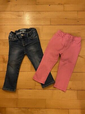 BABY GAP Girls Jeans Trousers Pink Blue Denim Bundle 18-24 Months 2 Years Old