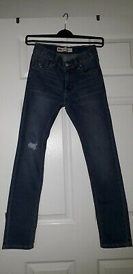 Levi's Boys Distressed Blue Washed 510 Slim Jeans Size 12 YRS 152cm